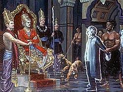 Yamaraja judging a sinner